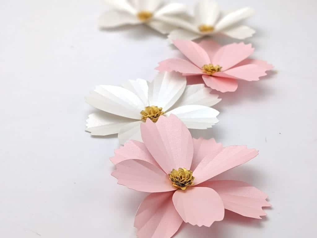 Learn how to make this paper cosmos. It comes together super quick and it is really easy to make | Paper flower template | paper craft | how to make paper flowers | easy paper flowers | paper flower tutorial | wedding paper flowers |