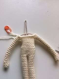 inserting wire into crochet doll